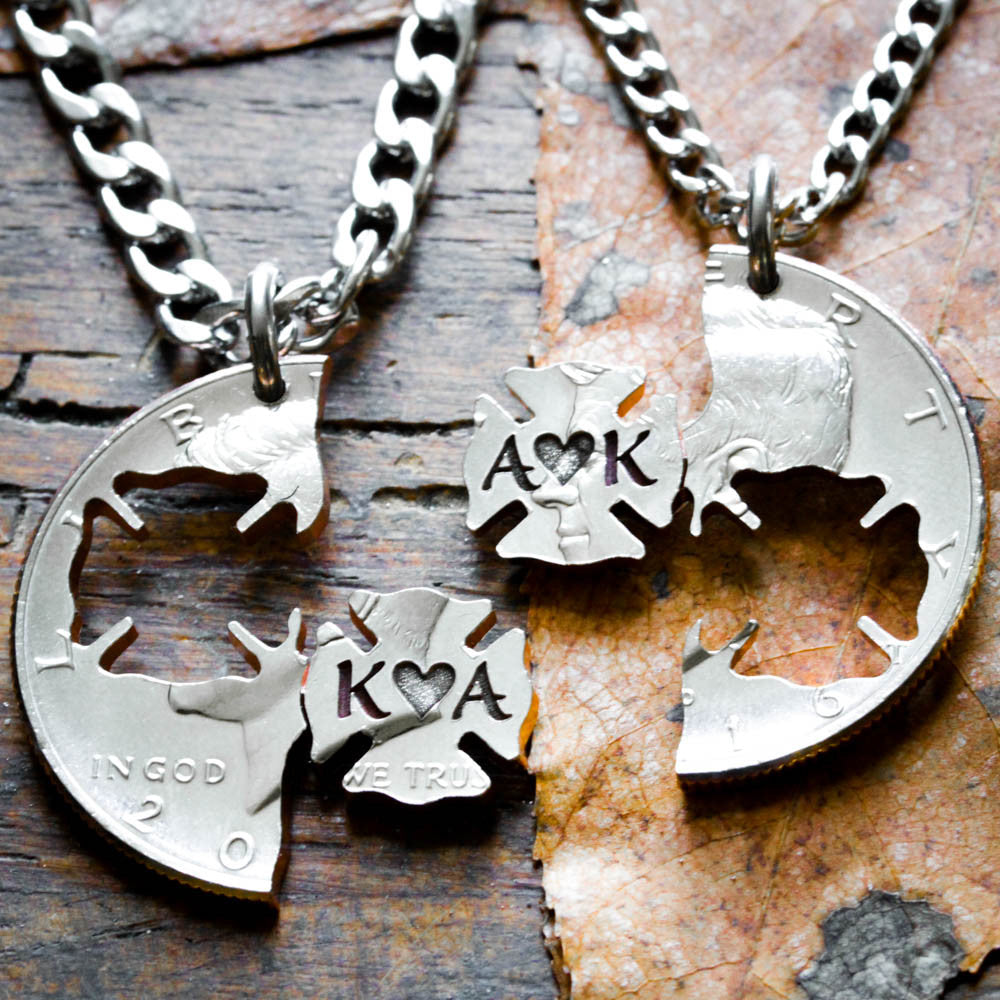 Firefighter Couples Necklaces, engraved initials and heart