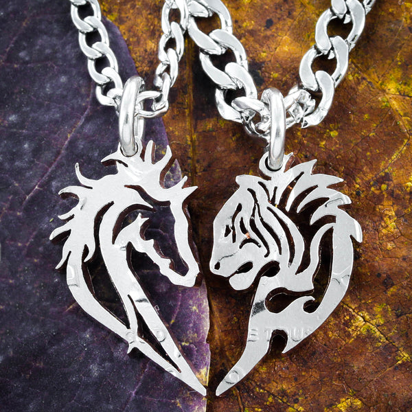 Tribal Horse and Tiger Couples Necklaces, Friendship Heart Jewelry By Namecoins