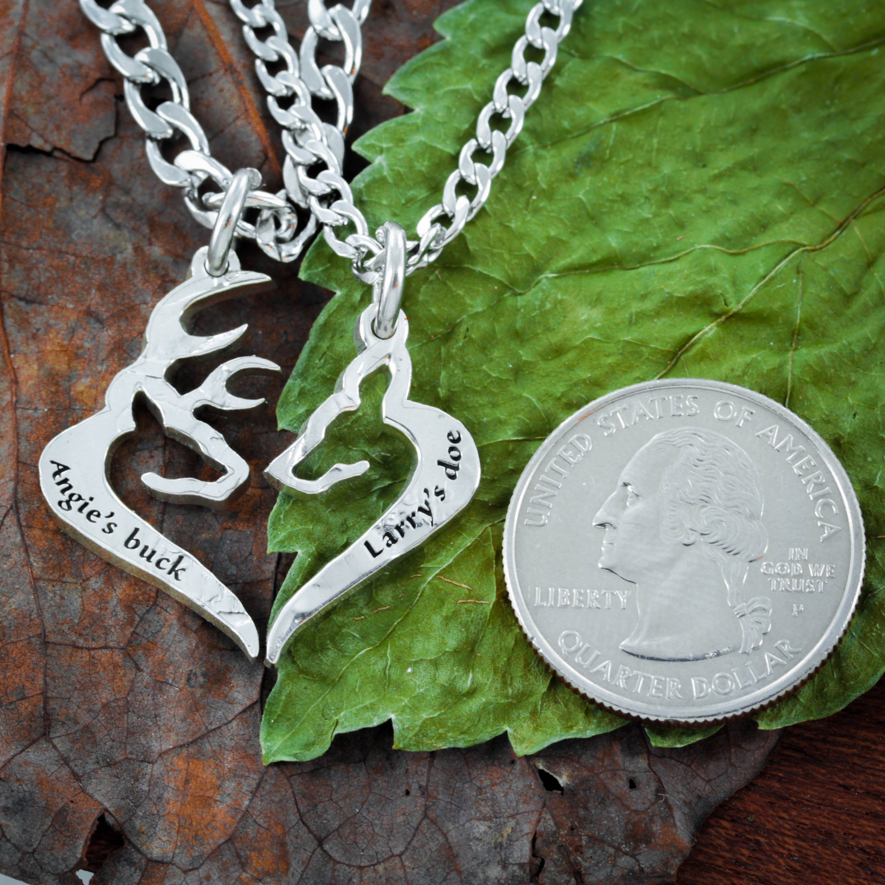 His Buck Her Doe Necklace, Custom Names engraved, Heart Jewelry ...