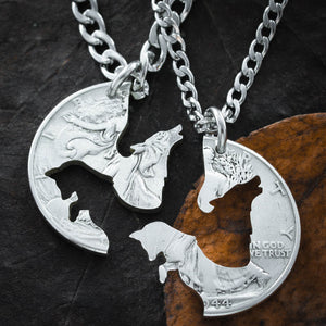 Wolf and Fox Best Friends Jewelry, BFF Gifts, Best Friends Forever Necklaces, Interlocking Puzzle set, Made from a Hand Cut Coin