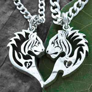 Tribal Tiger Couples Necklaces, Heart and Initial, Friendship Jewelry, Hand Cut Coin