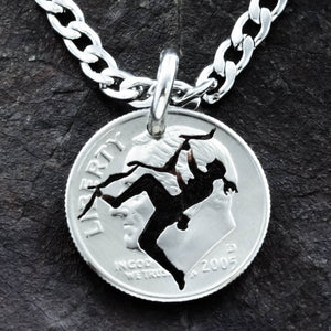 Girl Rock Climber Necklace, Female Rock, Athlete Gift, Hand Cut Coin
