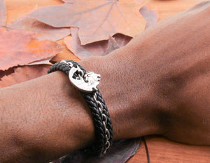 Lion and Lioness Relationship Leather Bracelets, Hand Sewn Couples Bracelets
