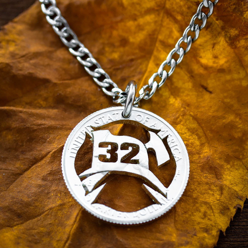 Fireman symbol Necklace custom numbers, Fire Fighter Gift, hand cut coin, firemen