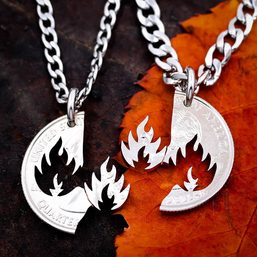 Fire and Fire Necklace set, Couples Necklaces, best friends, interlocking quarter