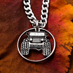 Truck jewelry, 4x4 necklace, Mudding, Hand Cut Coin