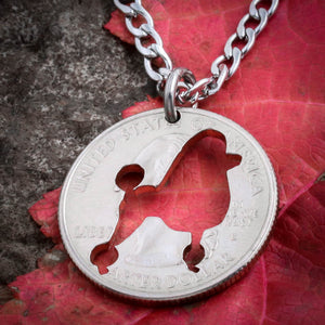 Poodle, dog necklace or keychain, hand cut coin