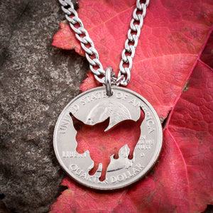 Chihuahua Necklace, dog jewelry hand cut coin