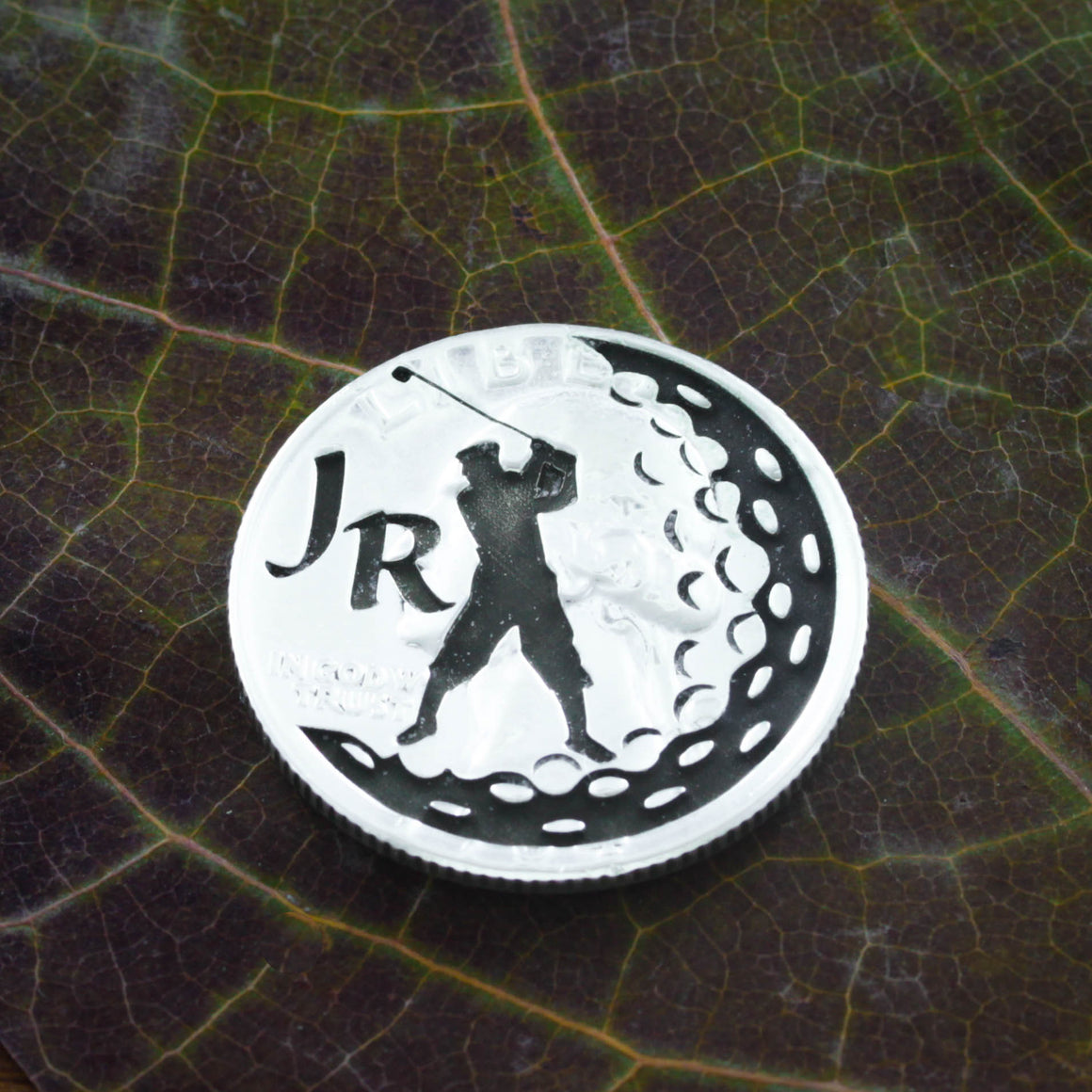Custom Initials Golf Ball Marker, Letters engraved, Etched Quarter