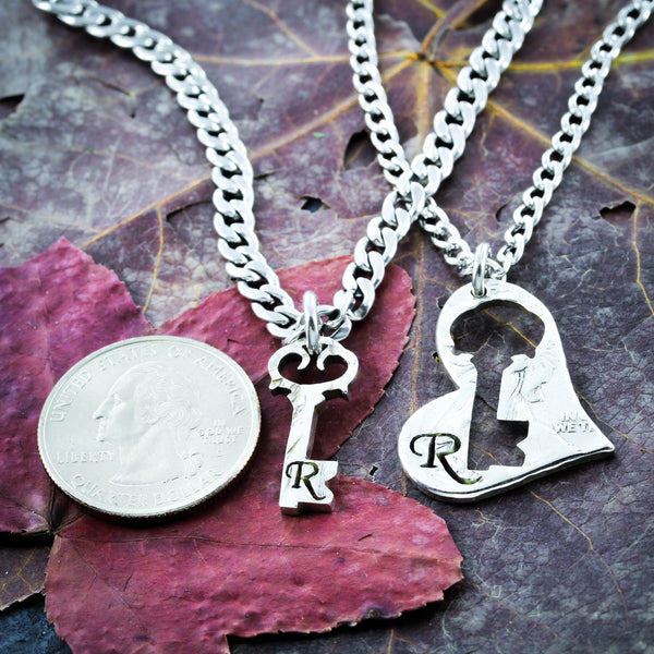 Key to my Heart necklaces, Custom initials romantic