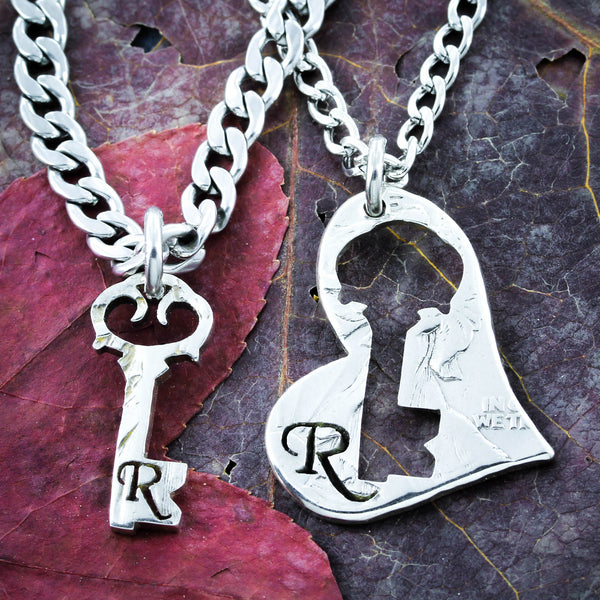 Custom namecoins necklaces key to my heart necklaces custom initials romantic aloadofball Gallery