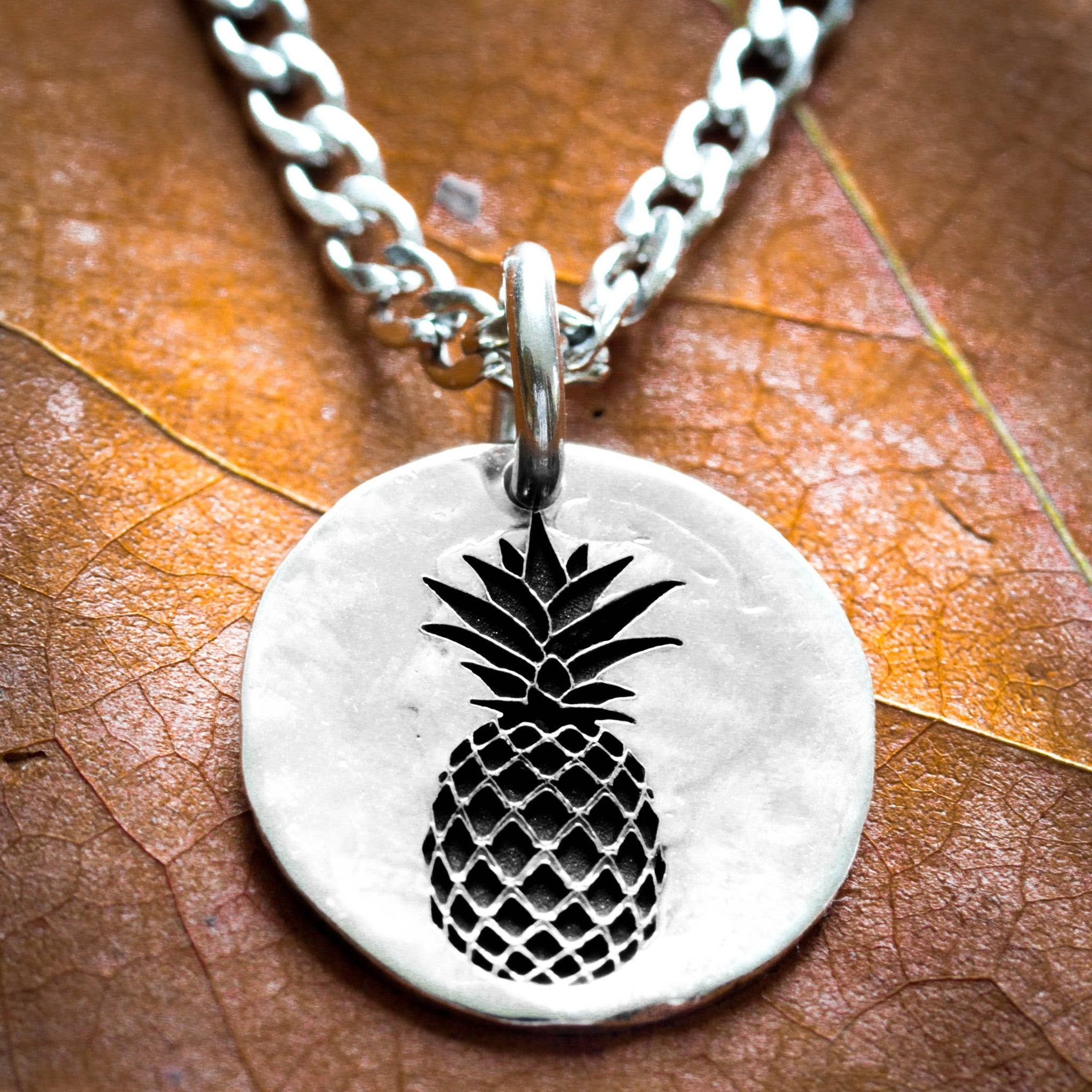 necklace brushed fruit spinningdaisy metal products pineapple handcrafted