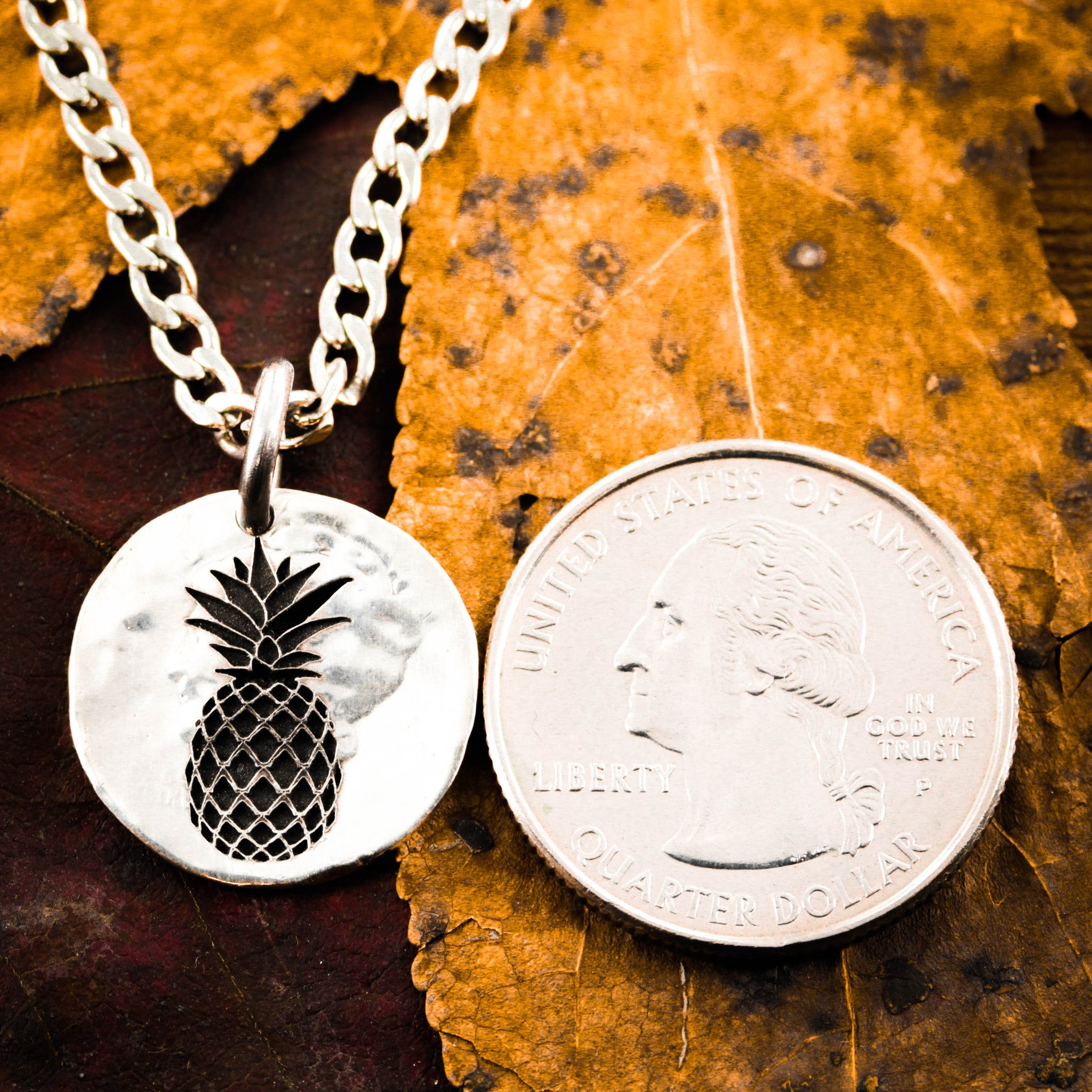 868e83f5f8 Pineapple Necklace, Hammered Silver Charm by Namecoins - NameCoins