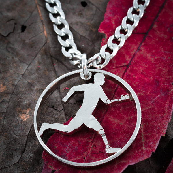 Prosthetic Marathon Runner necklace, Track and field jewelry