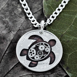 Steampunk Turtle Necklace, Gears Sea Turtle Jewelry, Engraved Quarter by Namecoins