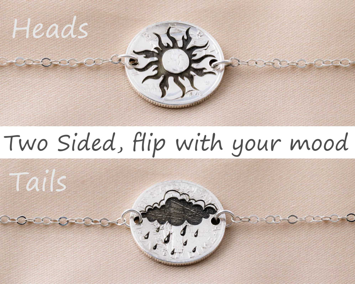 Sun and Storm, Silver Dime Flip Necklac
