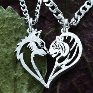 Tribal Tiger Kitty BFF Necklaces, Tigress Tomcat Heart Coin Jewelry