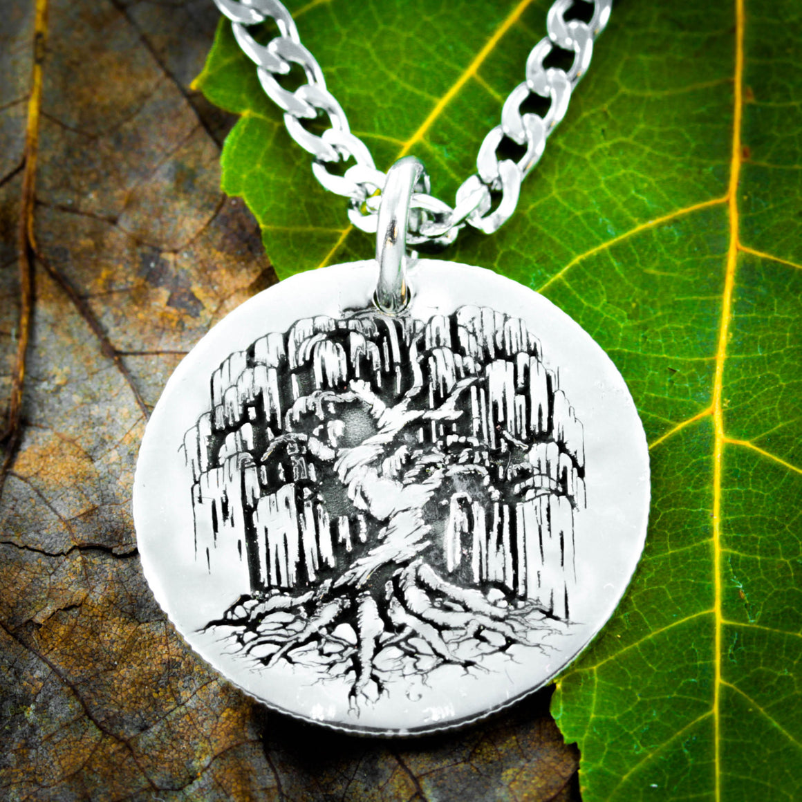 Silver Tree Necklace, Weeping Willow dainty dime pendant