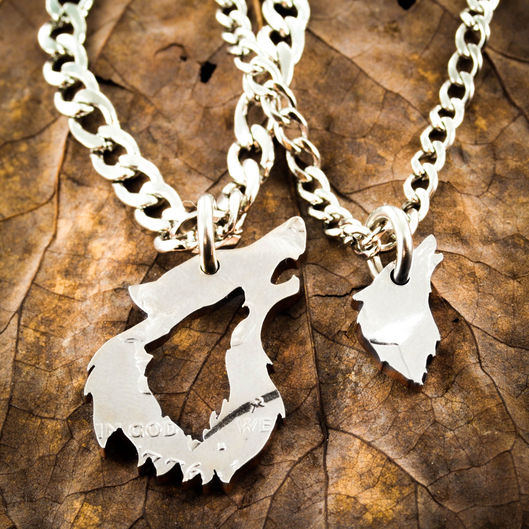 His and her Wolf Necklaces, Couples Relationship Jewelry, Half ...