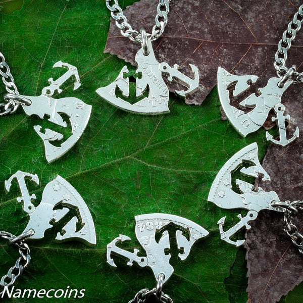 Anchors - Anchors 6 Piece Family Necklace, Real Silver Dollar