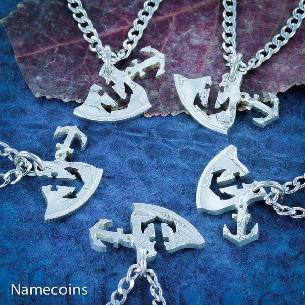 Anchors - Anchors Away, 5 Piece Family Necklace, Half Dollar