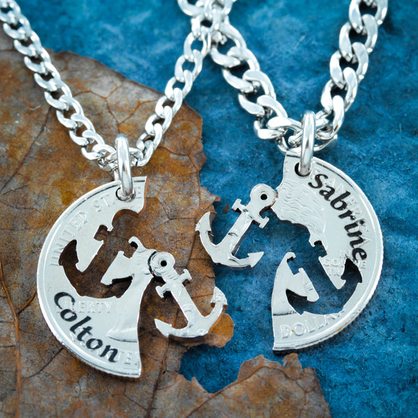 Anchor Necklace, Engraved Names, Best friends necklace, Relationship set hand cut coin