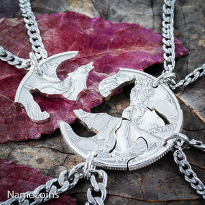 Animal Necklace Set - 4 Best Friends Wolf Necklaces, Wolf Pack