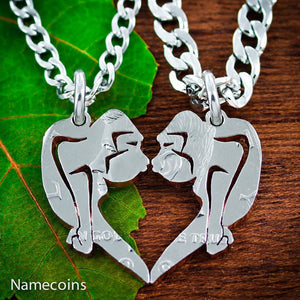 Animal Necklace Set - Gorillas Kissing Necklaces, Monkey Heart Couples Necklaces
