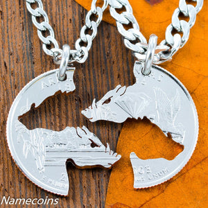 Animal Necklace Set - Hogs Necklaces, Interlocking Set On Arkansas Quarter, For Boar Hunters Or Hog Theme, Cut Coin
