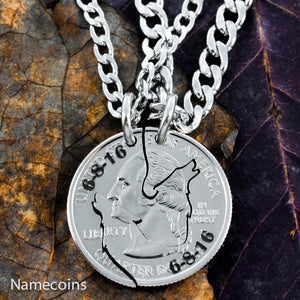 Animal Necklace Set - Howling Wolf Interlocking Necklaces With Custom Anniversary Date Engraved