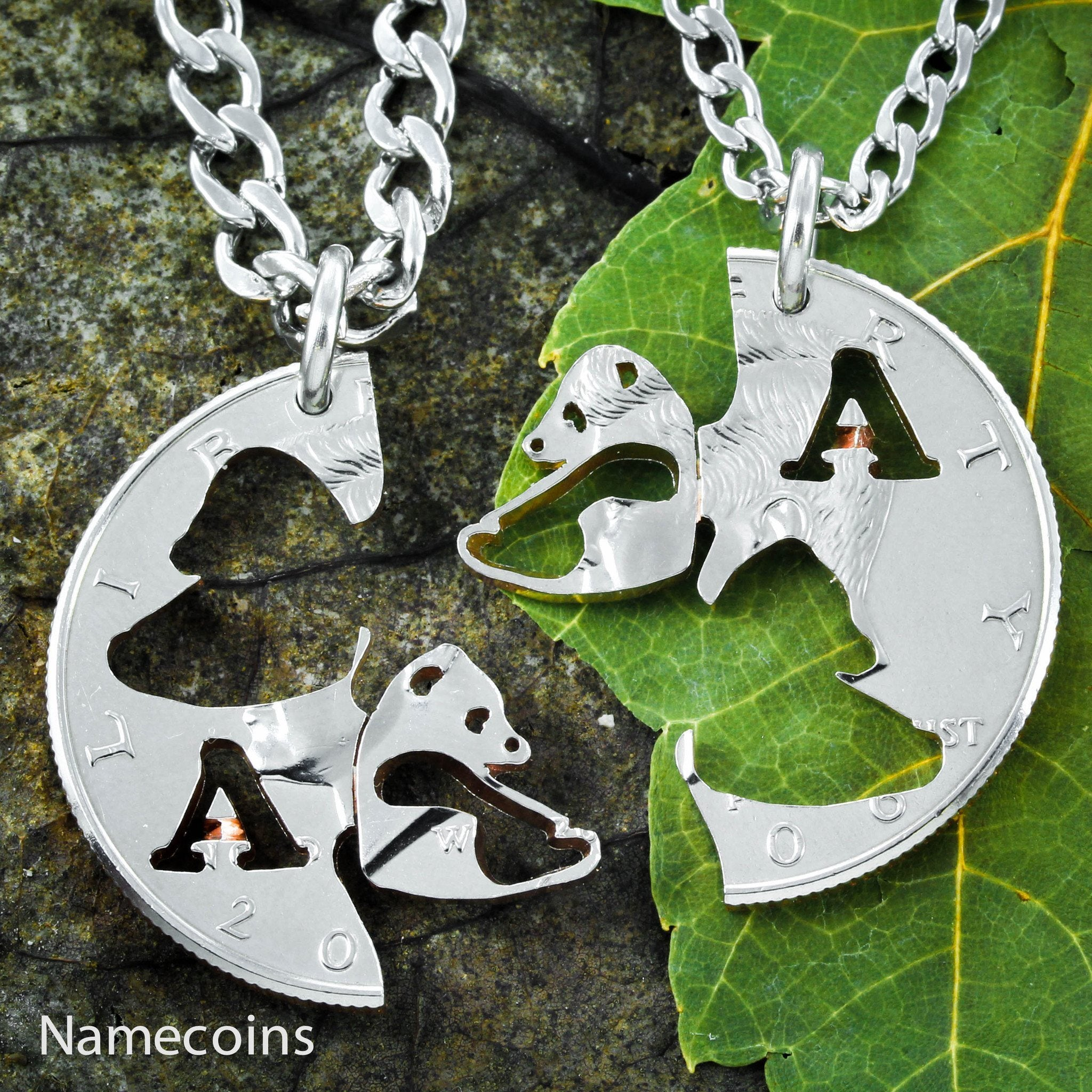 Panda Bear Necklace set, Custom Monogram Couples Necklaces - NameCoins