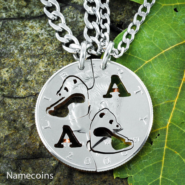 Animal Necklace Set - Panda Bear Necklace Set, Custom Monogram Couples Necklaces
