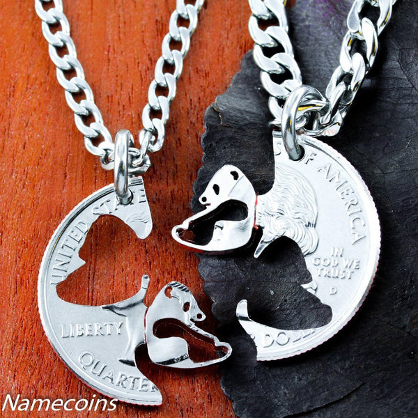 Animal Necklace Set - Panda Necklace Set, Interlocking Couples Necklaces