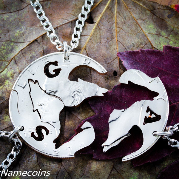 Animal Necklace Set - Personalized Wolves, 3 Piece Necklace, Real Coin