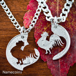 Animal Necklace Set - Rooster Necklaces For Couples