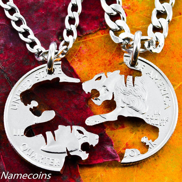 Animal Necklace Set - Tiger Jewelry, Friendship Necklaces, Interlocking Tigress