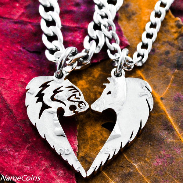 Animal Necklace Set - Tribal Tiger And Wolf Necklace Set