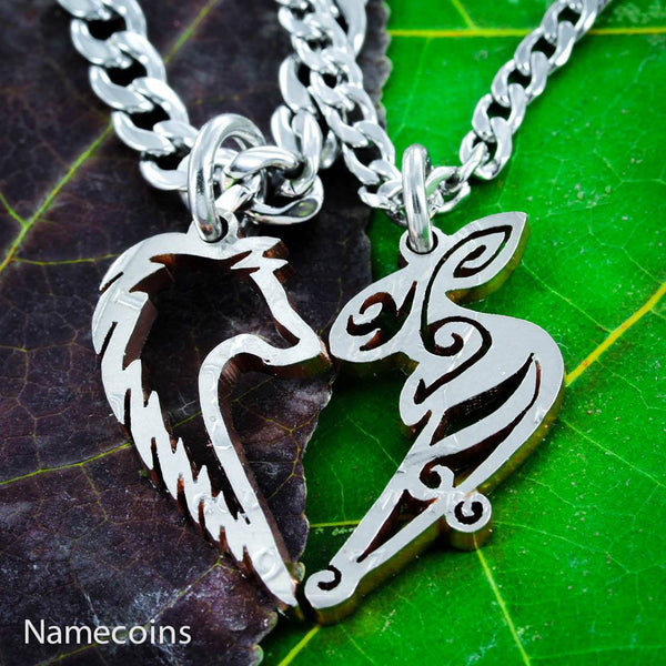 Animal Necklace Set - Wolf And Bunny Necklace - Heart