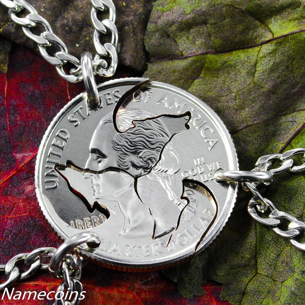Animal Necklace Set - Wolf Friendship Necklaces, 3 Piece Interlocking Quarter Jewelry Set, Hand Cut Coin