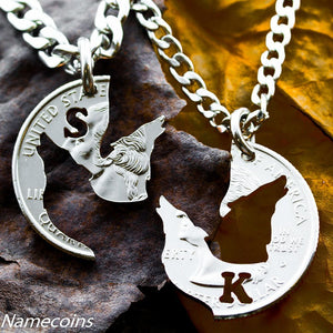 Animal Necklace Set - Wolf Necklaces Best Friends Monogrammed Jewelry
