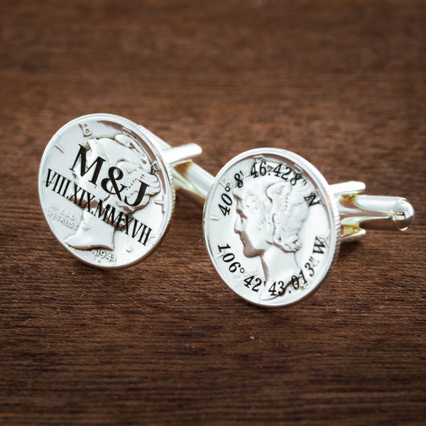 Wedding Cufflinks Custom Date, Monogram, Coordinates Engraved, Silver