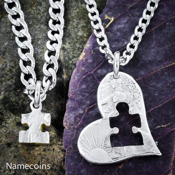 Autism Jewelry, Puzzle Piece And Heart, Half Dollar
