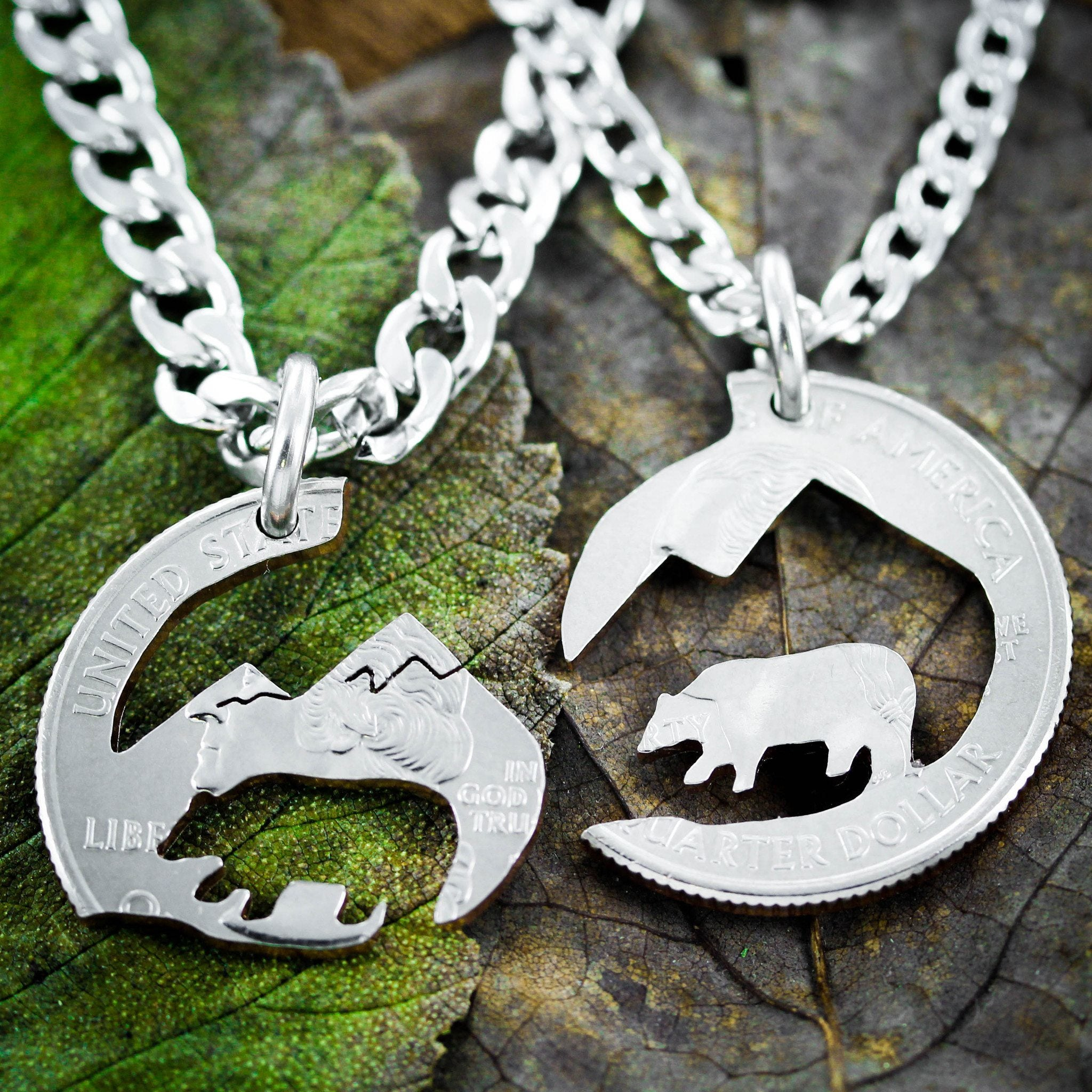 Bear and Mountain Couples Necklaces, Hiking and Wilderness - NameCoins