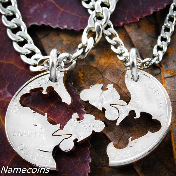 Biker Couples - Biker Jewelry, Matching Motorcycle Coin Necklace Set
