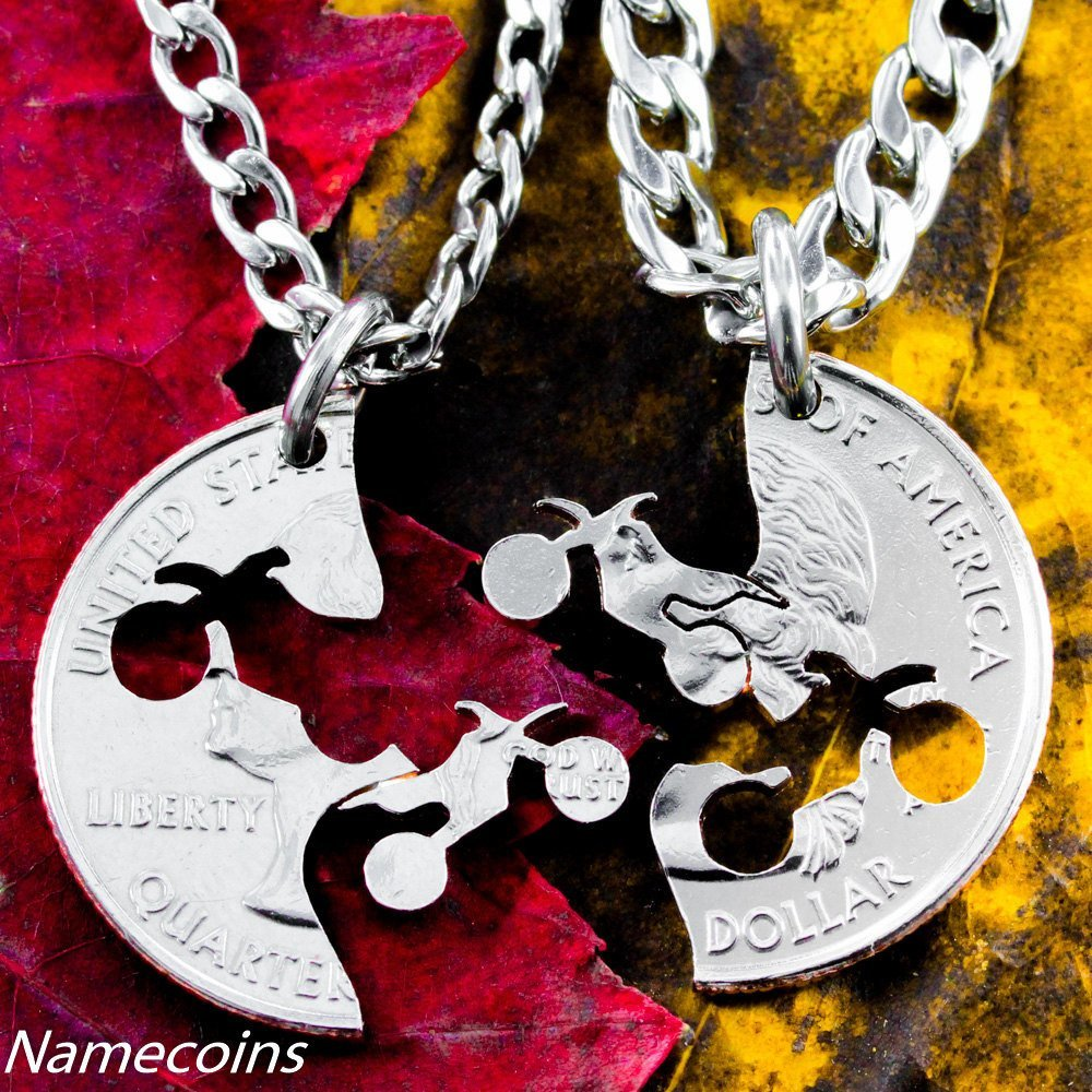 Dirt Bike Couples Necklaces, Motocross Guys Jewelry - NameCoins