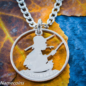 Boy Fishing Necklace, Hand Cut Coin