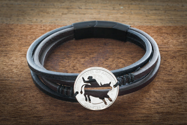 Bull Riding Leather Strand Wrap Bracelet, Bull Rider Bracelet