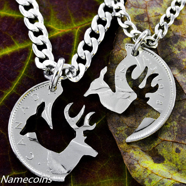 Buck And Doe Canadian Quarter, Necklace Set, Woodland Jewelry, Cut Coin Jewelry