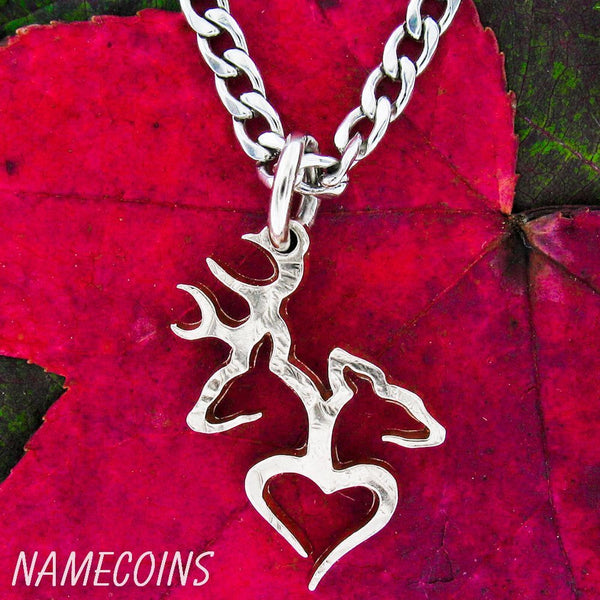 Buck And Doe Heart Necklace Quarter No Rim Hand Cut Coin