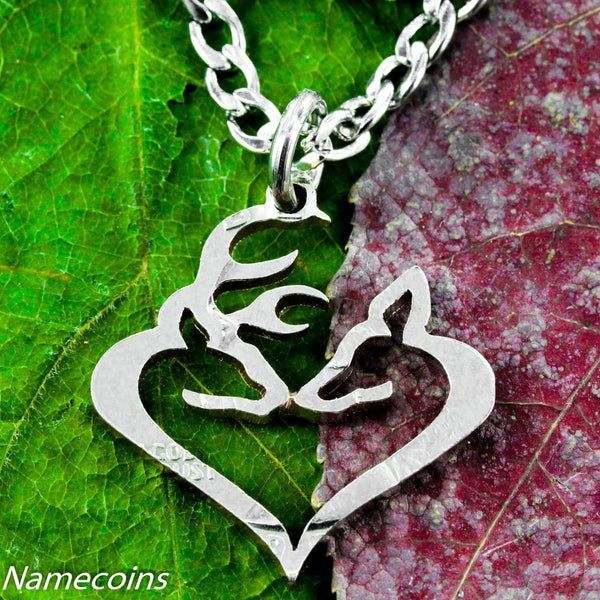 Buck And Doe Kissing Heart Necklace Cut From Quarter, Hand Cut Coin